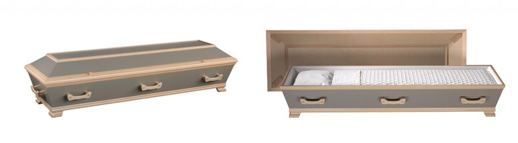 Innsiden og utsiden av Jølstad sin kiste i foliert gråfarge