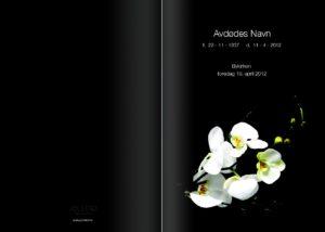 Sort programhefte med hvite liljer kan bestilles hos Jølstad