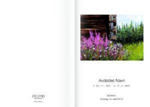 Lite bilde av hyttevegg på forsiden av programhefte fra Jølstad